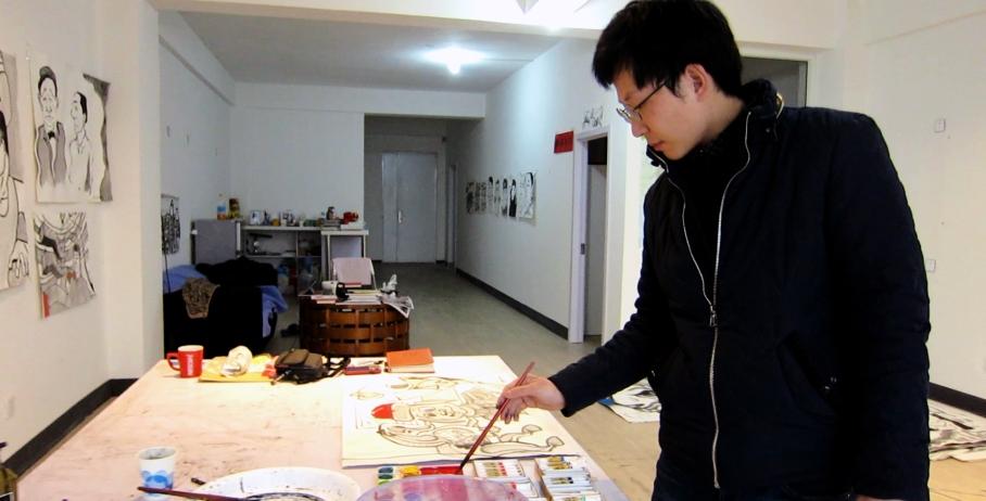 Myself, painting in my studio