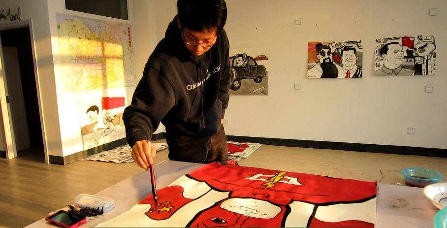 Myself, painting Captain China in my 99 Art Museum studio