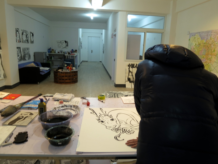 Myself, working in my 99 Art Museum studio
