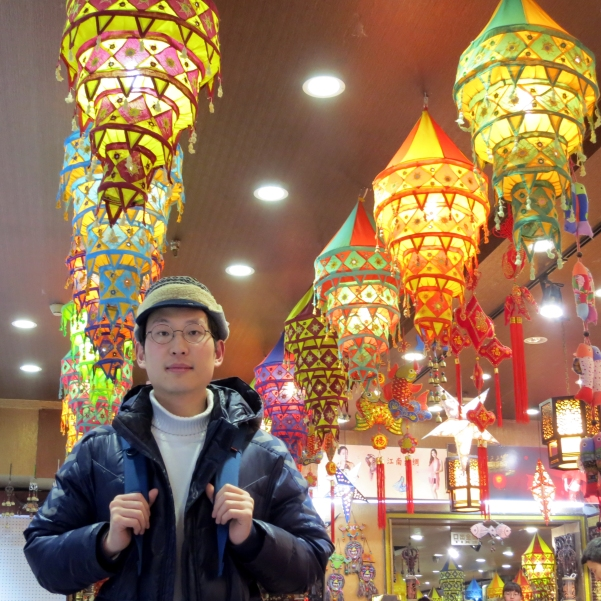 Myself, at a lantern store in the Wangfujing area.